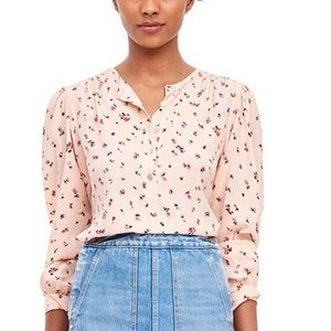 REBECCA TAYLOR Silk Floral V-Neck Mia Blouse Top